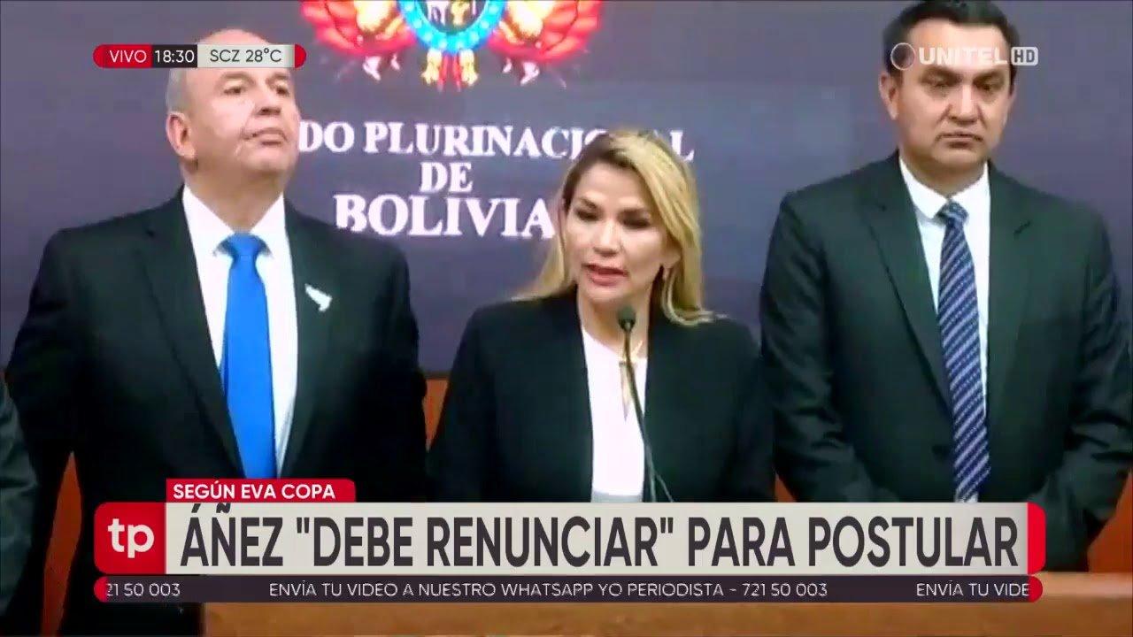 Copa dice que Áñez debe renunciar si quiere ser candidata