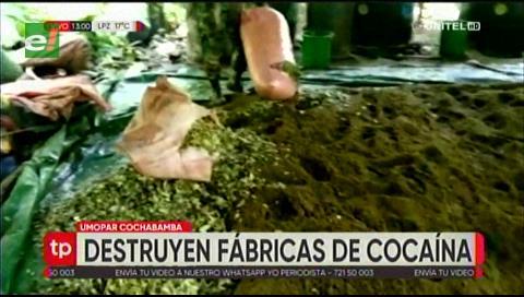 UMOPAR destruyó más de 20 fábricas de cocaína de la zona del Chapare