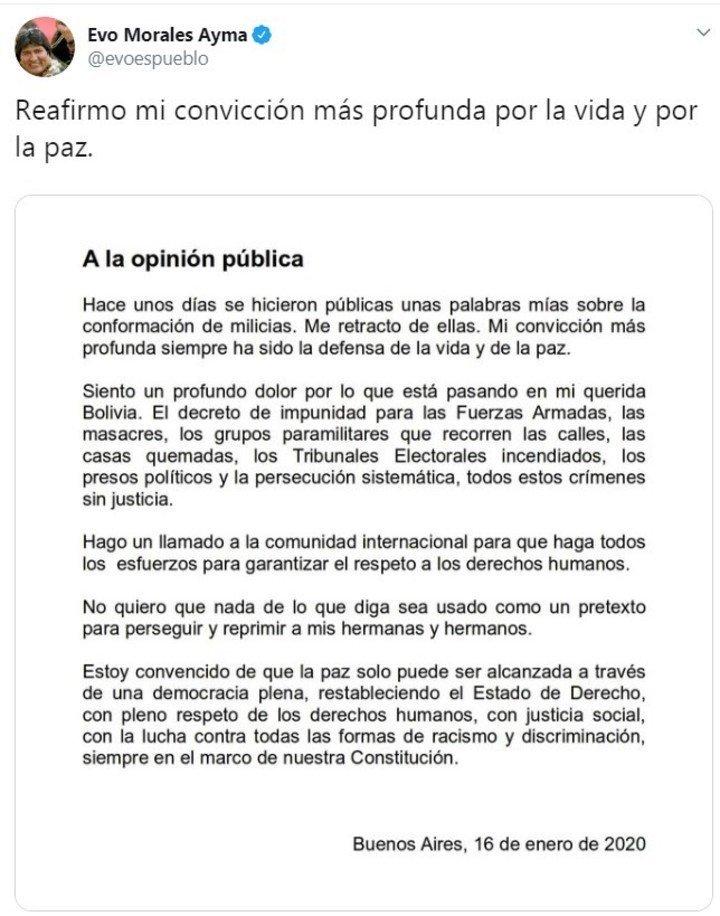 El comunicado de Evo.