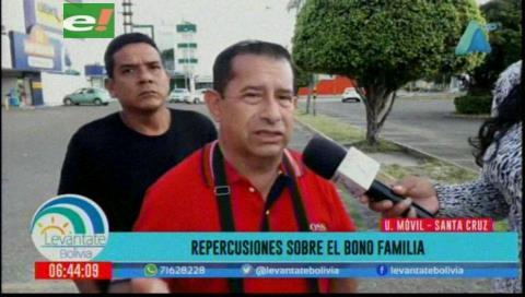 Fejuve de Santa Cruz considera que bono Familia es una 'bendición de Dios'