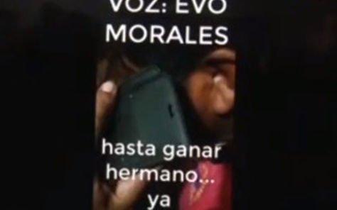 Parte de la conversación que supuestamente tienen Evo Morales y el dirigente Faustino Yujra, según divulgó el Ministerio de Gobierno.