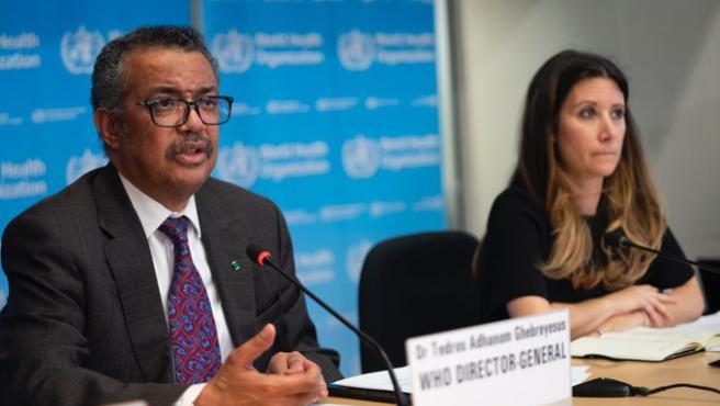 El director general de la OMS, Tedros Adhanom Ghebreyesus, en la rueda de prensa de hoy.