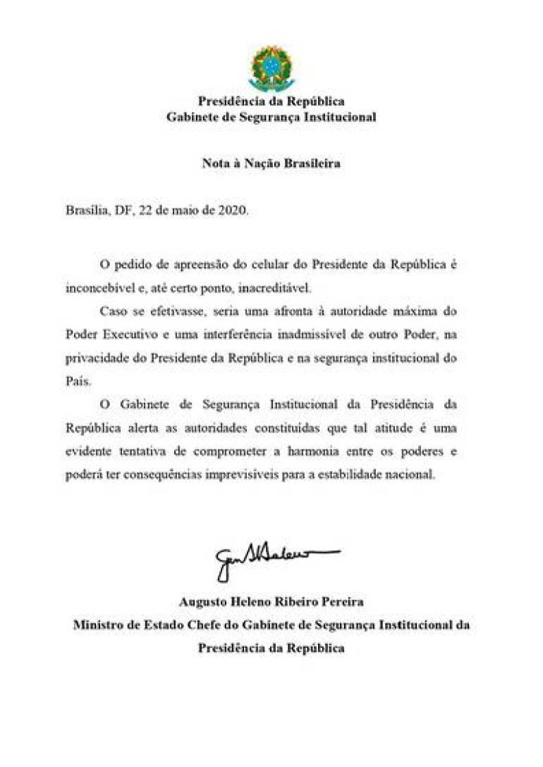 La carta de Augusto Heleno a raíz del pedido de la Justicia brasileño