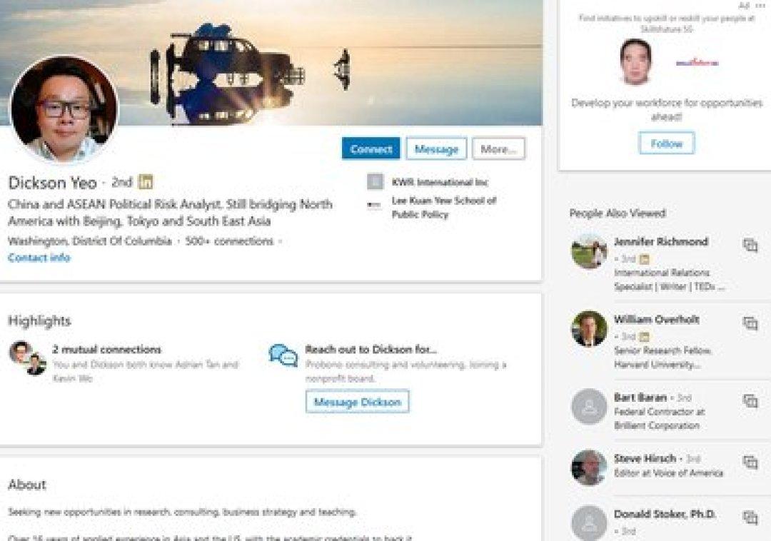 El perfil que usaba el agente de China en LinkedIn