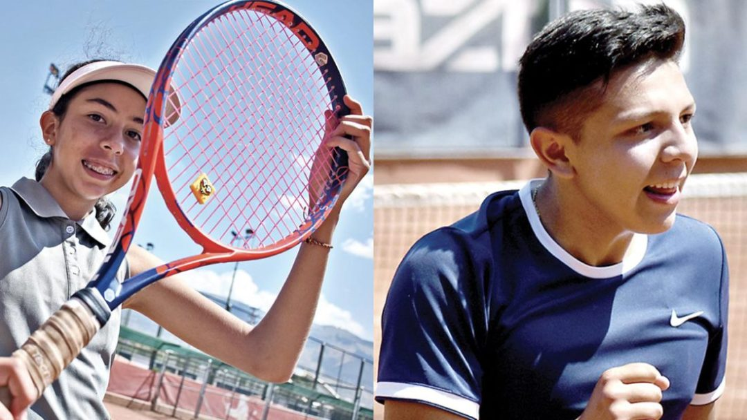 Los tenistas María José Pérez, ganadora en la categoría 14 años y Samuel Orellana logró el título en 18 años. DICO SOLÍS