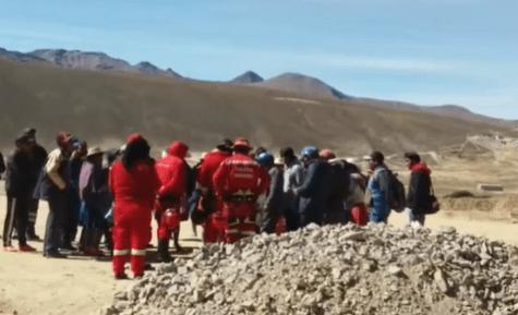 Bomberos y mineros en Calamarca
