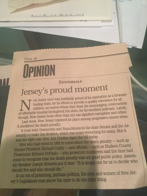 """The New Jersey Star Ledger's editorial from shortly after the repeal vote, declaring this was """"Jersey's proud moment."""""""