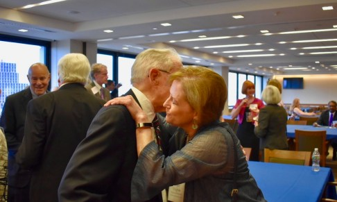 Judge Gibbons greets former clerk Virginia Hardwick