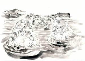 週刊ポスト 連載小説 土橋章宏さん作 「駄犬道中おかげ参り」挿絵イラストを担当しました。 (2015.4~2016.4)