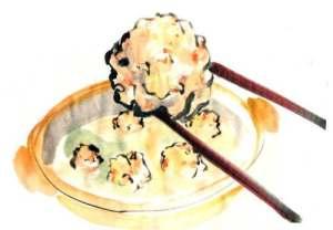 エビ団子 (テレビ朝日「おかずのクッキング」テキスト 「生田與克の旬の魚が一番うまい!」コーナーイラスト)