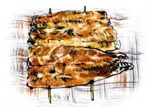 ウナギのかば焼き (テレビ朝日「おかずのクッキング」テキスト 「生田與克の旬の魚が一番うまい!」コーナーイラスト)
