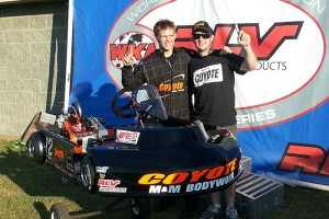 Dylan Zobkiw and his brother, Jason, celebrate Dylan's Senior Pro Gas championship and his new Coyote XP chassis (Photo: NCRM)