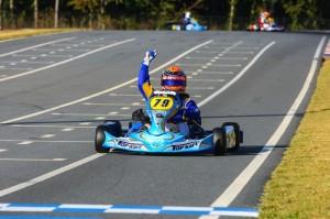 David crosses the stripe for his Komet Junior win Saturday at Mooresville, N.C.(Photo: NCRM
