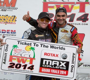 Masters Max champion Luis Schiavo (r) awarding Scott Falcone with ROtax Grand Finals ticket (Photo: Studio52.us)