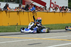A first win for Lachlan DeFrancesco in the USPKS Mini Rok Cadet class
