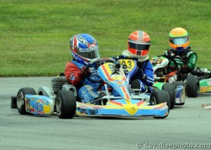 Alex Verhagen went from third to first on the final lap to earn the Mini Rok Cadet victory (Photo: DavidLeePhoto.com)