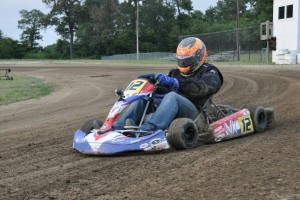 Wheeler during a test session aboard a Victory Kart with Yamaha power