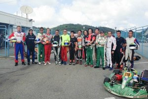 The drivers competing in the KZ division in Macau