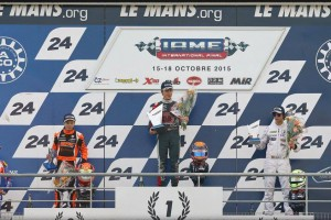 Malukas on top of the podium in Le Mans as the X30 Junior victor (Photo: IAME International FInal)