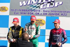 OK podium, from left Travisanutto, Nielsen, Basz (Photo: FM Press)