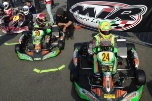 Merlin drivers Maks Kowalski and Sam Mayer on the grid this morning before warm-up (Photo: FranklinKart.com)