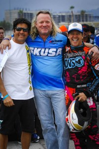 Moulton and Idelson with SKUSA CEO Tom Kutscher (Photo: On Track Promotions - otp.ca)