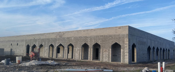 Primary masonry contractor for Jacksonville Islamic Center project started in July 2016. Scope of the project included both interior and exterior walls. Total project included ~20,000 concrete masonry unit (CMU), also referred to as concrete blocks.