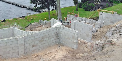 Masonry block tiered retaining walls on St. Johns River.