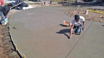 Installation of a salt crystal finish driveway.