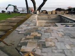 Natural slate stone masonry.