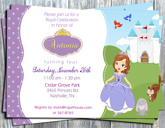 Princess Sofia The First Birthday Party Printable Invitation