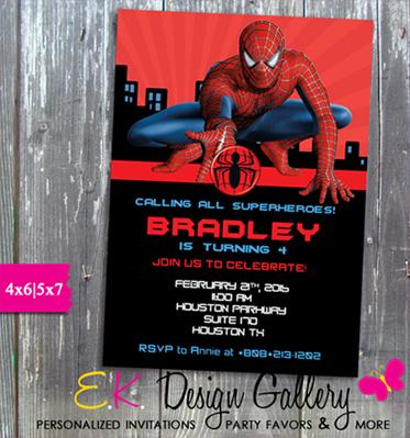 spiderman birthday party spider man invitation