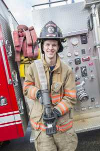 Firefighter Jason Warren at the fire department
