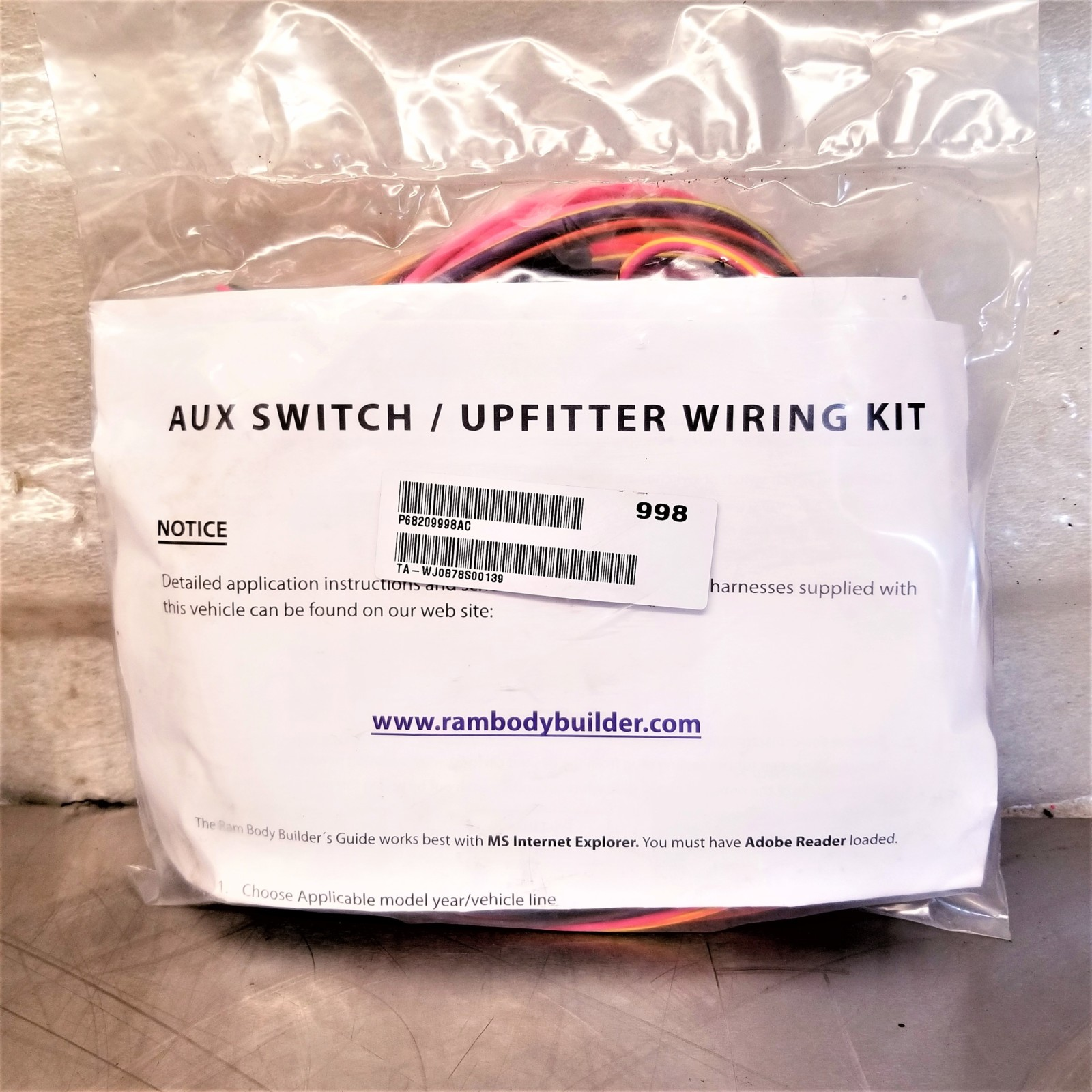 Dodge Ram Aux Switch    Upfitter Wiring Kit  P68209998ac