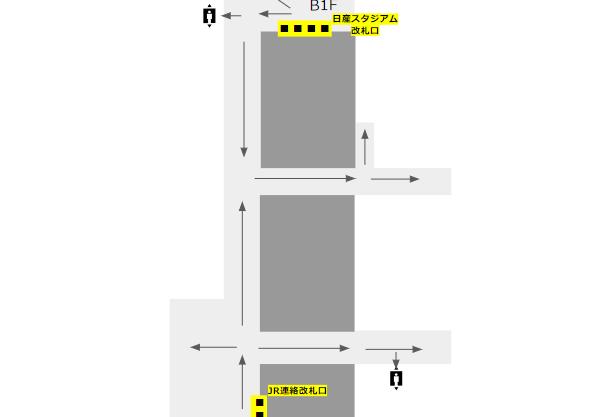 新横浜駅の構内図-ブルーライン(改札階)