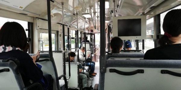 イケアシャトルバスの車内