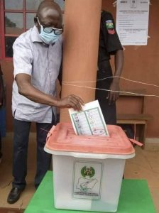 Oshiomhole cast his vote for PDP
