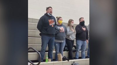 When the US national anthem failed to play at his son's basketball match, this dad saved the day.