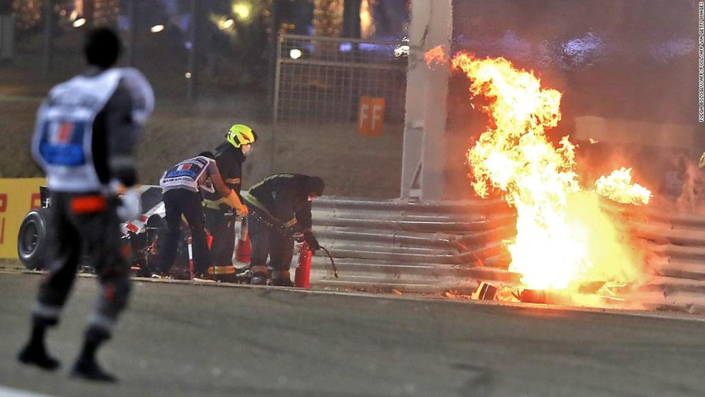 Max Verstappen says it was a 'big relief' to see Romain Grosjean escape his burning car