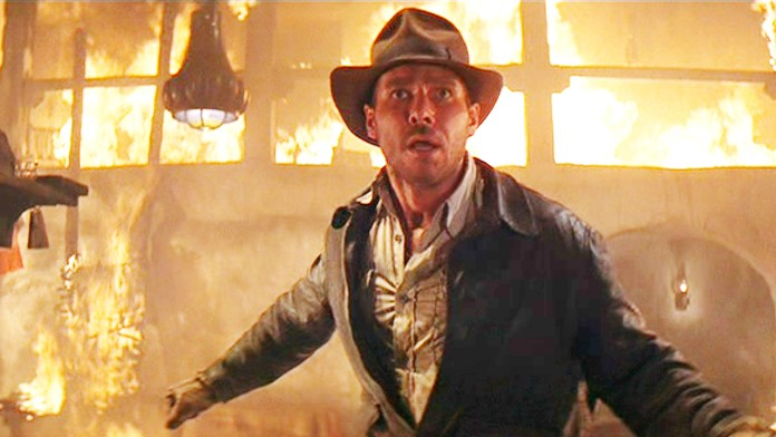 Harrison Ford pictured in Indiana Jones costume on set of fifth movie