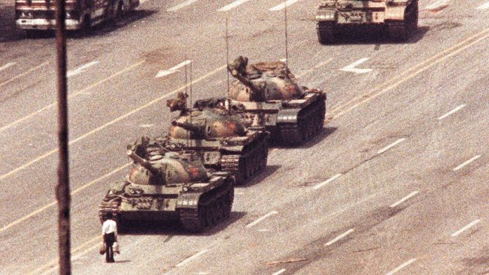 This picture of the 'tank man' in 1989 became a symbol of the Tiananmen Square massacre