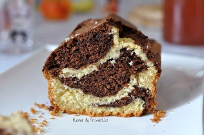 Notre délicieuse recette de cake marbré chocolat vanille