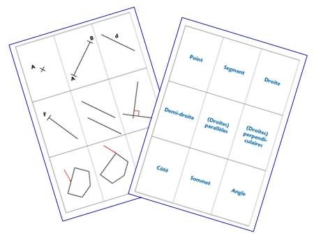 Memory géométrie dans le plan