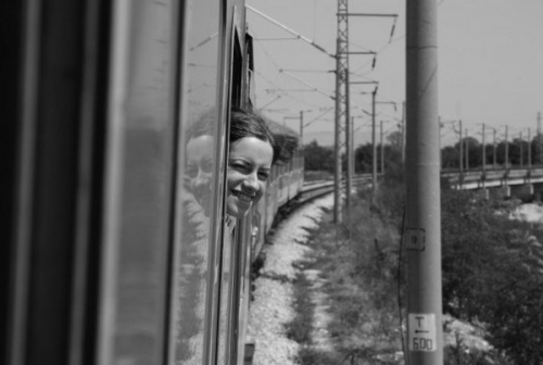 Dans le train en Serbie