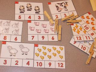Free Count and Clip farm themed cards. math, prek, kindergarten, math centers, counting, free, farm: