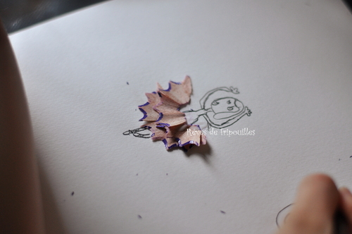 Dessins et collages à partir d'épluchures de crayons de couleurs