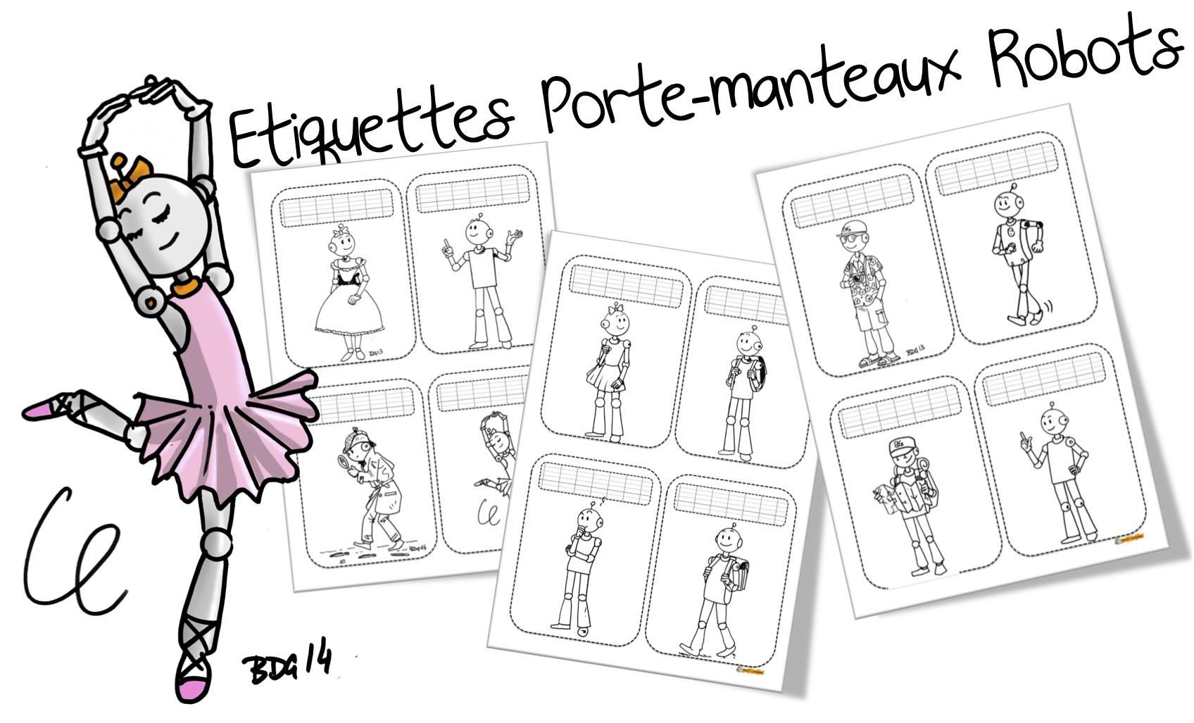 Etiquettes Porte Manteaux Robots