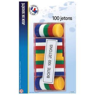 Boite de 100 jetons - Plastique - 19 x 12 x 2 cm - Multicolore