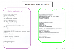 Consignes en anglais for the teacher!!!