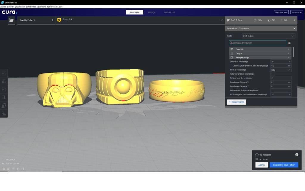 modélisation 3D d'anneaux